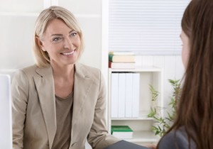 Woman interviewing